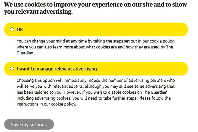 Screenshot of The Guardian's Cookies and Advertising Settings page