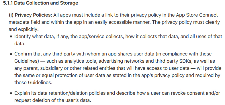 Apple's App Store Review Guidelines for developers: Data Collection and Storage clause excerpt about a required Privacy Policy