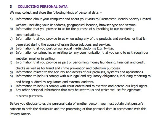 Cirencester Friendly Privacy Notice: Collecting personal data clause