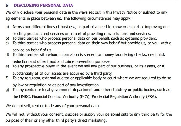 Cirencester Friendly Privacy Notice: Disclosing personal data clause