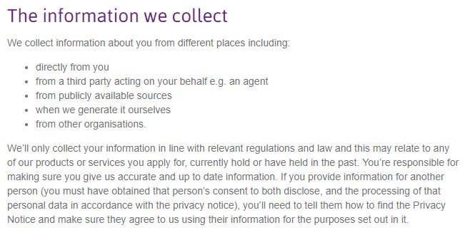 Cirencester Friendly Short Form Privacy Notice: The information we collect clause