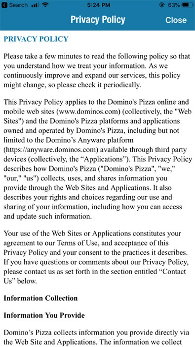 Screenshot of Domino's Pizza mobile Privacy Policy