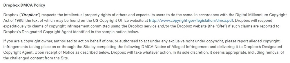 Intro clause of Dropbox's DMCA Policy