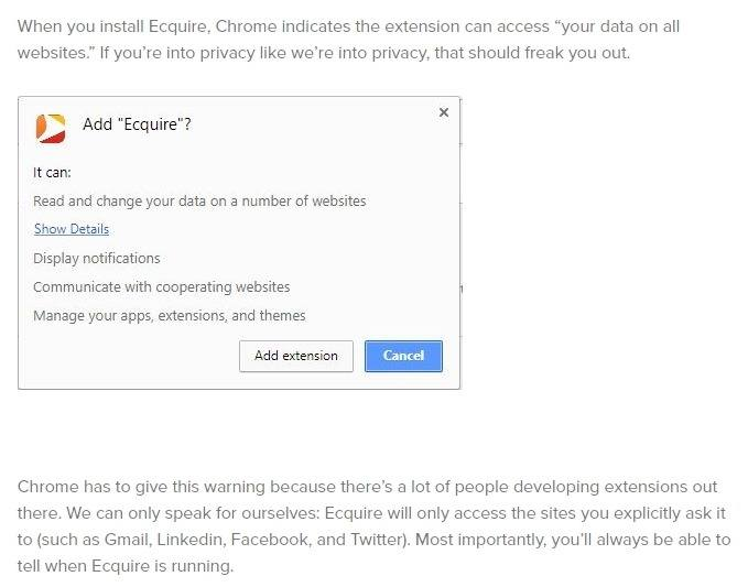 Ecquire Privacy Policy: Section covering Google Chrome extension's request to access data
