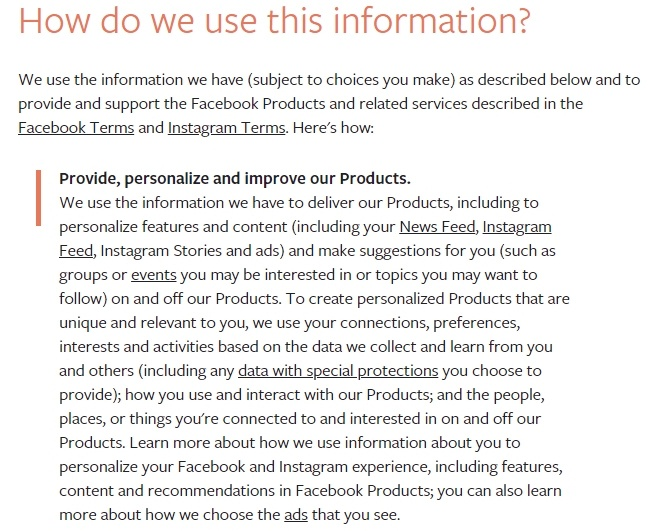 Facebook Data Policy: Excerpt of How do we use this information clause