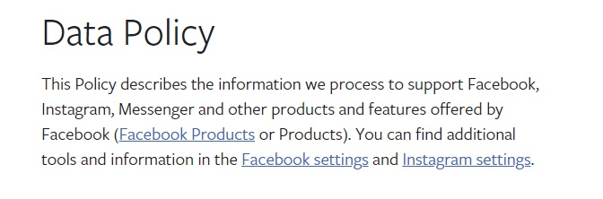 Intro clause of Facebook's Data Policy