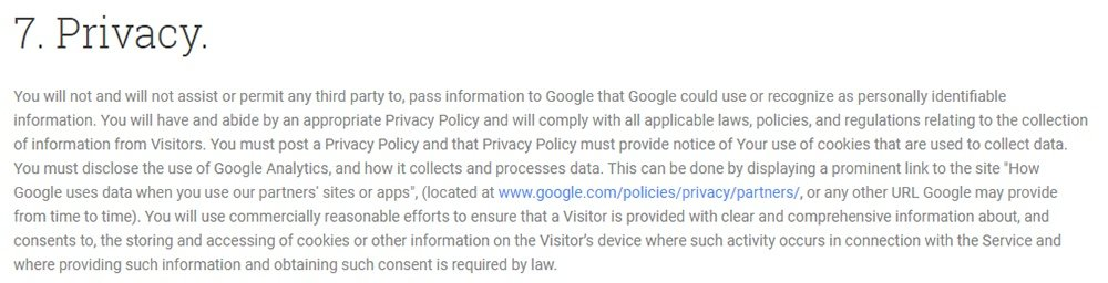 Google Analytics Terms of Service: Privacy Policy is required clause