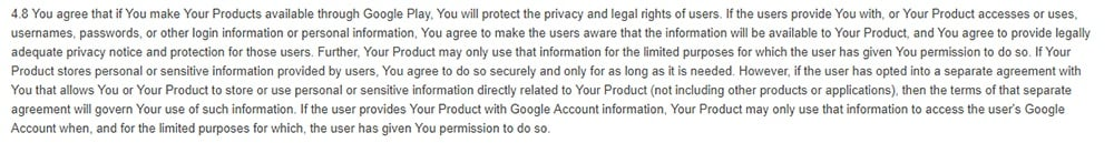 Google Play Developer Distribution Agreement: Clause with Privacy Notice requirement