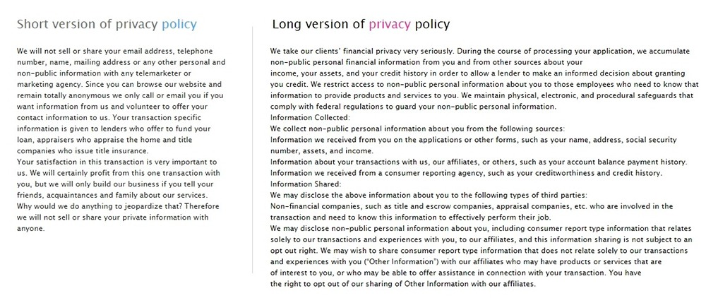 VeryNiceHomes Privacy Policies: Short and Long versions