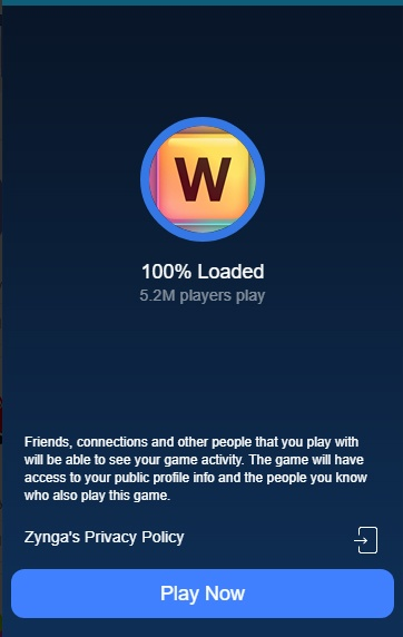Facebook App Center: Words with Friends Play Now screen with Zynga Privacy Policy
