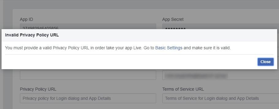 Facebook Developer Dashboard: Invalid Privacy Policy URL pop-up