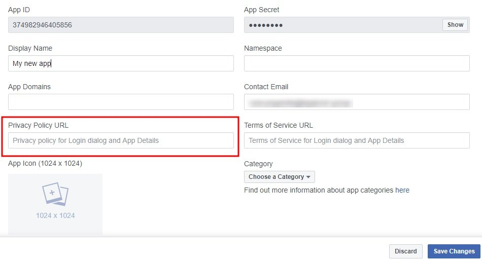 Facebook Developer dashboard with Privacy Policy URL field highlighted