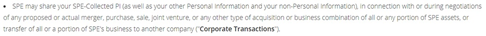 Funimation Privacy Policy: Business transfer clause