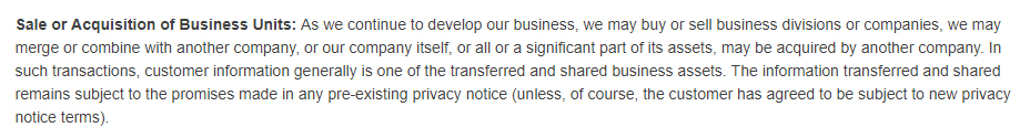 GameStop Privacy Policy: Sale or Acquisition of Business Units clause