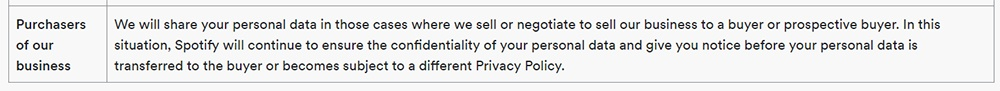 Spotify Privacy Policy: Business transfer clause