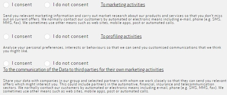 Alfa Romeo form for consent to marketing, profiling and third party communication