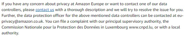 Amazon UK Privacy Notice: Excerpt of Examples of Information Collected clause