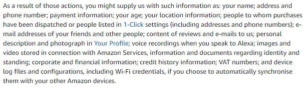 Amazon UK Privacy Notice: Excerpt of Contacts, Notices and Revisions clause