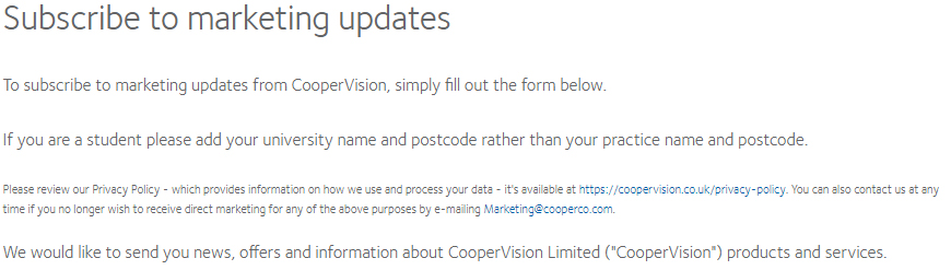 Cooper Vision subscribe to marketing updates form disclaimer