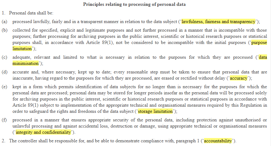 EUR-Lex GDPR: Principles relating to processing of personal data highlighted