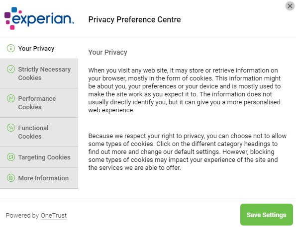Experian Privacy Preference Centre settings screen