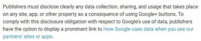 Google Buttons Policy: Section with requirement to disclose data collection, sharing and usage