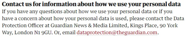 The Guardian Privacy Policy: Contact the DPO clause