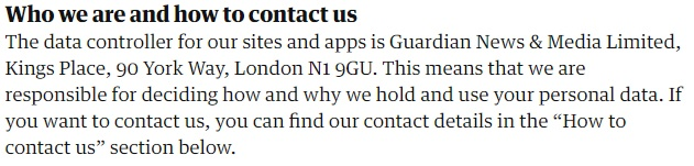 The Guardian Privacy Policy: Who we are and how to contact us data controller clause