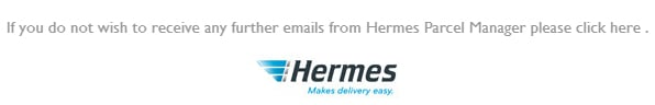Hermes email with unsubscribe option