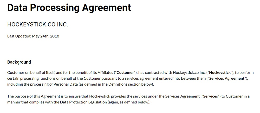 Screenshot of Hockeystick Data Processing Agreement background section