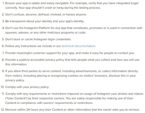 Excerpt of Instagram Platform Policy General Terms clause