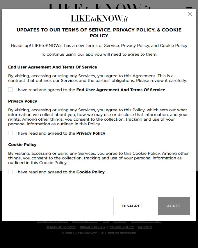 LIKEtoKNOWit New account agree-to page with Terms of Service, Privacy Policy, Cookie Policy and EULA
