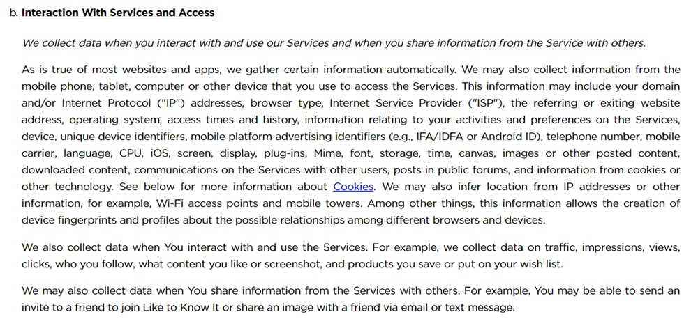 LIKEtoKNOWit Privacy Policy: Interaction with Services and Access clause