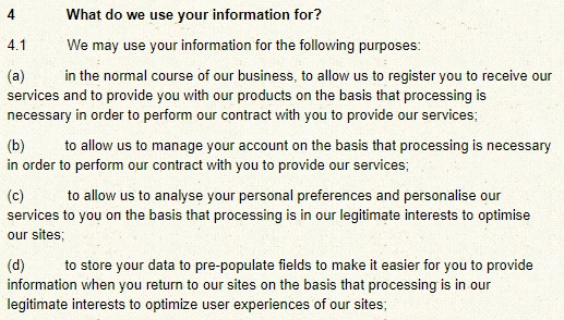 Matthew Algie Privacy Policy: What do we use your information for clause