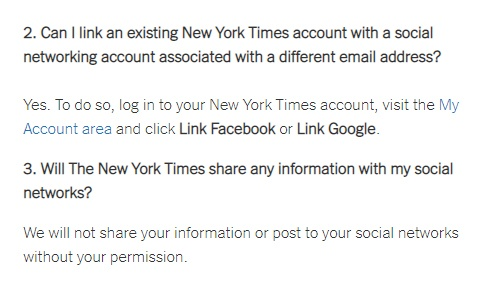 Screenshot of excerpt of the New York Times help and questions for social login