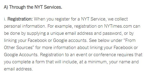 The New York Times Privacy Policy: Information collected through registration clause excerpt