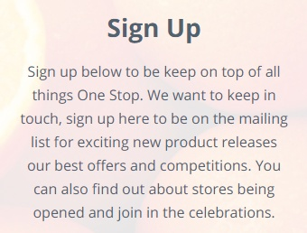 One Stop: Sign up for emails description box