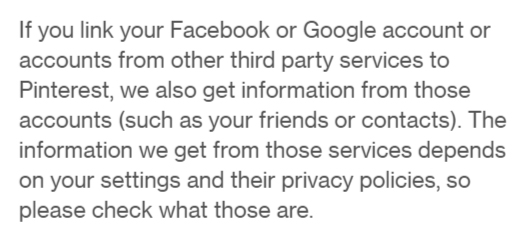 Pinterest Privacy Policy: Section about third party social logins and information