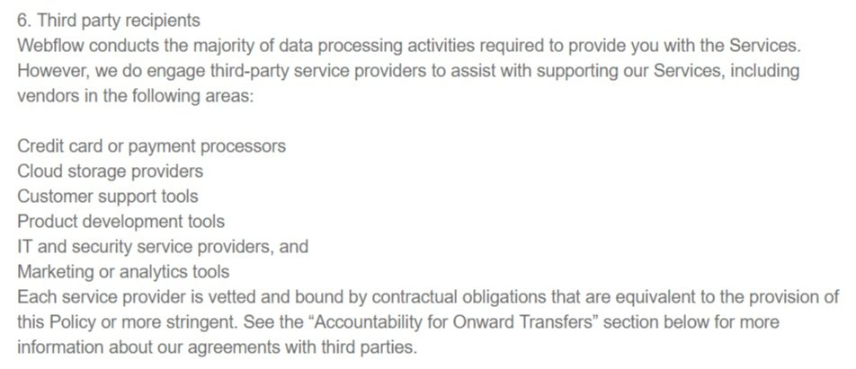 SendPilot Privacy Policy: Third Party Recipients clause