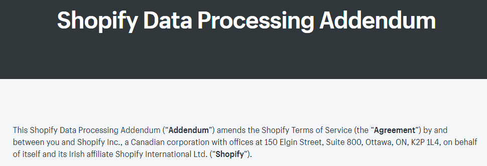 Screenshot of Shopify Data Processing Addendum introduction section