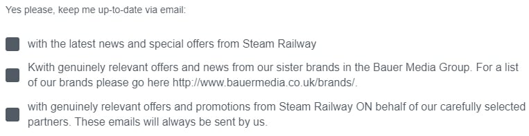 Steam Railway email sign-up form checkboxes