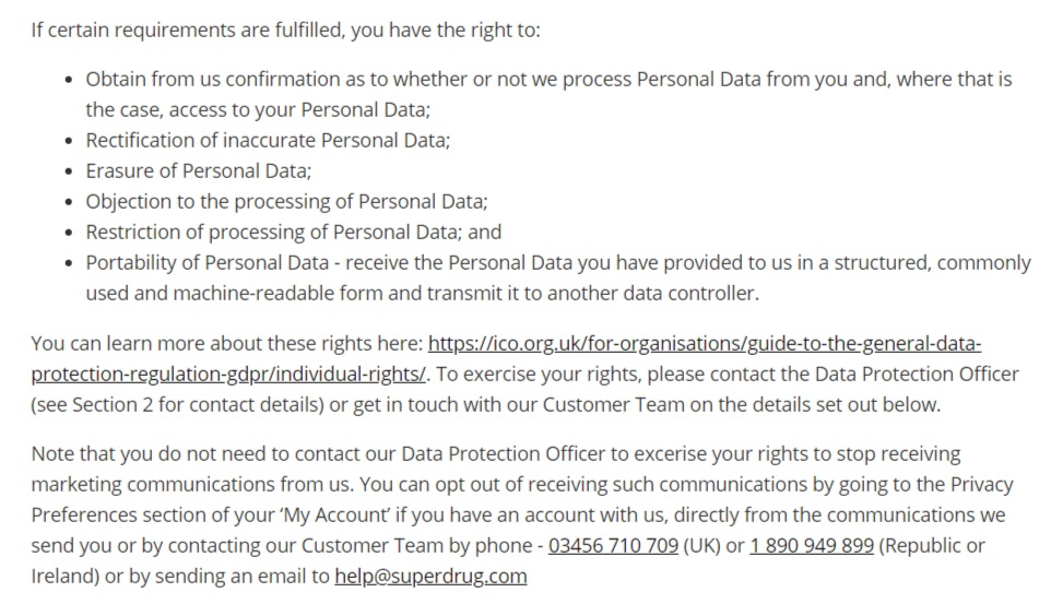 Superdrug Privacy Policy: Your Rights GDPR clause