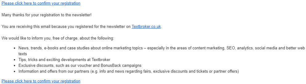 Email to confirm newsletter subscription from Textbroker