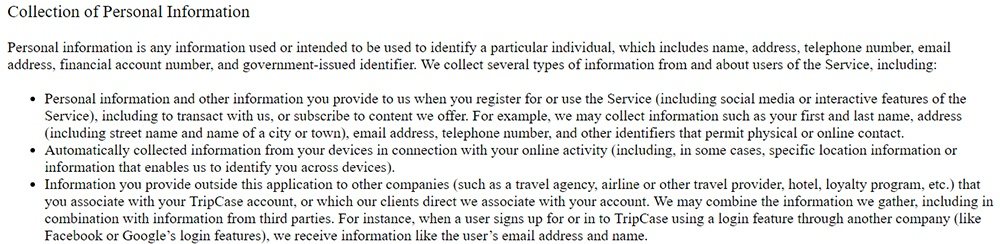 TripCase Privacy Statement: Collection of Personal Information clause