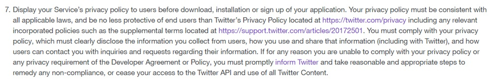 Twitter Developer Policy: Privacy Policy requirement clause