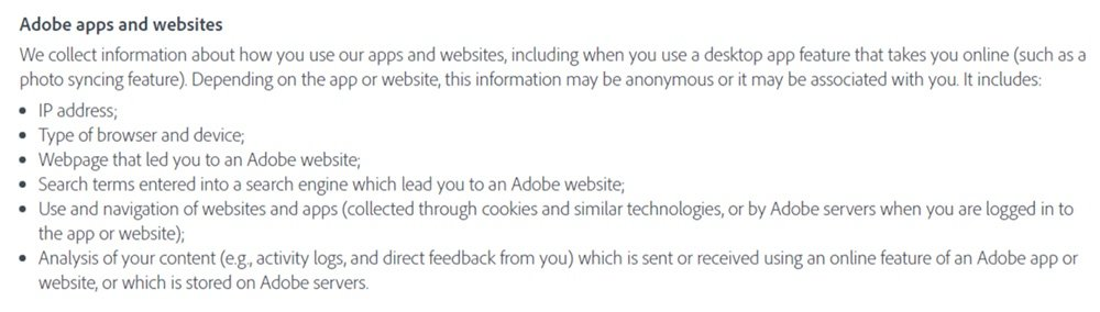 Adobe Privacy Policy: Information collected through Adobe apps and websites clause