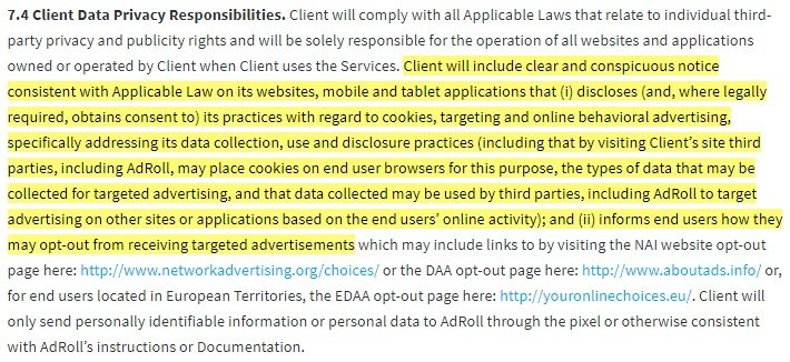 AdRoll Terms of Service: Client Data Privacy Responsibilities clause highlighted