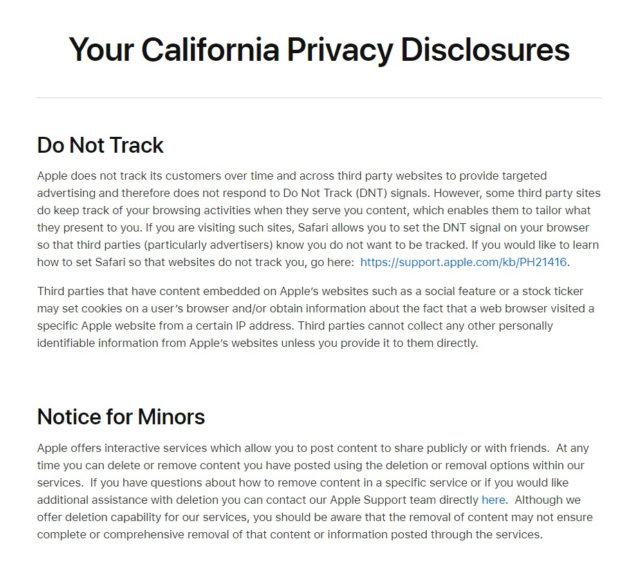Apple California Privacy Disclosures for CalOPPA: Do Not Track and Notice for Minors clauses