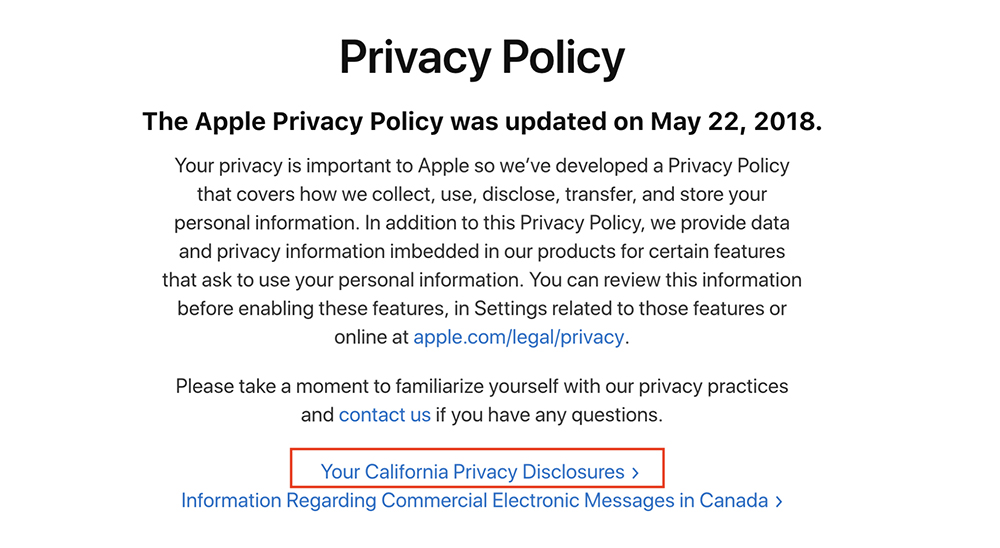 Apple Privacy Policy: Intro clause with California Privacy Disclosures link highlighted