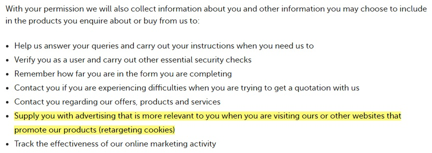 Direct Line Cookies Notice: Advertising and retargeting cookies section highlighted